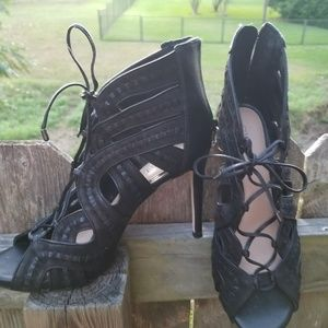 Lace up caged booties open toe stilettos